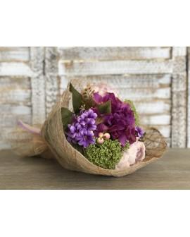 Ram artificial peonia i hortensia malva
